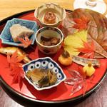 日本料理 太月 - 煮アワビ、姫くわい、めひかり、えびいも、なまこ、鮟肝焼き