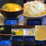 ゆき藤 - 「味噌汁」総重量(実測値)338g、「キャベツ」総重量(実測値)122g(直接振りかけたドレッシングを含む)、「お新香」総重量(実測値)20g。