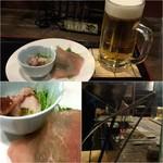 77438223 - 生ビール&お通し(たこわさ&生ハムサラダ)/炭火焼き
