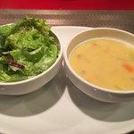 Kofuji Shokudou - まずはサラダと田舎風スープがサーブ