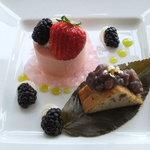 7747585 - 4月のパティシエ・スイーツセレクション 桜と抹茶のダブルムース 小豆のパウンドケーキを添えて