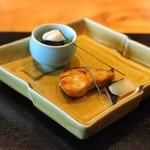 たまさか - 焼物(鰆の幽庵焼  紫花豆と安納芋白和え 千枚蕪)