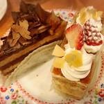 不二家レストラン - チョコ生ケーキ、苺のミルフィーユ