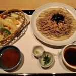 がんこ - [料理] 天ぷら・ざる蕎麦 セット全景♪w