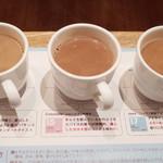 100% Chocolate Cafe. - 3種のテイスティングショコラドリンク(500円)