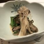 77511687 - 先付け   きのこと赤水菜の胡麻ひたし