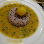T's たんたん - 幸せたんたんスープかけごはん 黄色はミニトマト