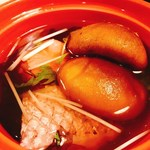 出雲・玉造温泉 佳翠苑 皆美 - 小鍋  出雲恵比寿 大黒 縁起仕立て  十六島岩海苔  鯛、海老餅、野菜いろいろ