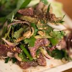 酒とタイ料理 ピッサヌローク - 2017.12 見蘭牛モモ肉のナムトック(タイ東北牛肉サラダ)