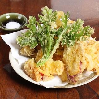 産地直送野菜を使用した天ぷら