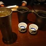 お酒と料理の心 - ・ブラックニッカハイボール、・白鶴熱燗 ×2