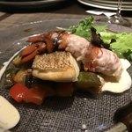 キャトルラパン - 鯛のソテーとオマール海老の低音ソテー 白ワインとバルサミコのソースで
