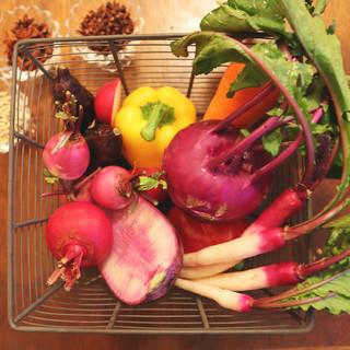 こだわりの美味しい産地直送野菜を使っています
