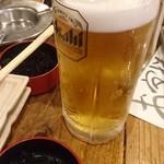 魚河岸 魚◯本店 - 生ビール \592 お通し \430