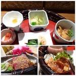 九州の旬 博多廊 - *上:カンパチあら炊き・辛子明太子・白子豆腐・大根餅など。 *左下:カンパチ胡麻和え。 *右下:豚3枚肉の天ぷら。