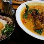 龍園 - ランチハーフ&ハーフ(月見玄米とろろご飯+担々麺)