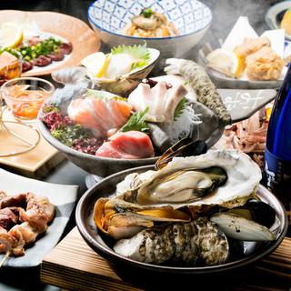 牡蠣にらしゃぶを含む、2種のお鍋から選べる、厳選コース♪