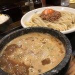 つけ麺 丸和 - ハーフミックスつけ麺       肉味噌玉子トッピング