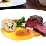77652650 - 牛肉のハラミロースト  わさびとパンプキンのソース