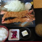 田舎家 - 特大ジャンボエビフライ定食3本盛り¥2500
