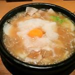 77671199 - 「雪鍋石焼き仕立て 薩摩茶美豚と冬野菜のおうどん」