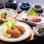 レストラン希星 - 希星定食 カニクリームコロッケと旬のお刺身
