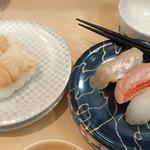 廻鮮 富寿し - ばい貝¥360、白身3種¥580