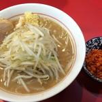 千里眼 - ラーメン 麺160g ヤサイ少なめ・ショウガ増し・カラアゲ増し別皿で 730円