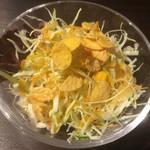 77688812 - コーンフレークが!                       定番ランチ エビチリ 飯大 950円税別                       サラダ、焼売、搾菜、スープ付き