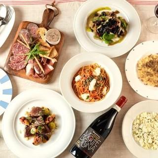 季節の食材を使ったイタリアンとワインのマリアージュを楽しんで