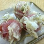 77695367 - ミニトマトの天ぷら(隣の産直トマトを使用したサービス品)