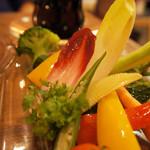 77699032 - 彩り野菜のバーニャカウダー菜園風