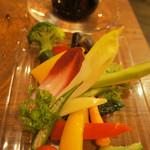 77699034 - 彩り野菜のバーニャカウダー菜園風