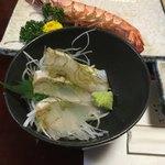 篠寿司 - 鯛の昆布〆 焼き海老