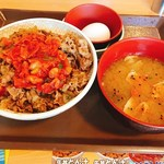 77709329 - キムチ牛丼、豚汁、生卵