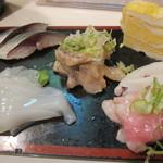 寿司政 - 〆鯖、烏賊のみみ、本鮪鮪トロ中落ち、ぬた