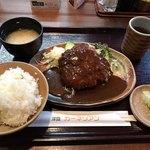 洋食屋 カーネリアン - デミソースハンバーグ定食 デラックスサイズ  1,240円(税込)]