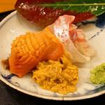 旬席 鈴江 - 南淡路さんの赤貝、鯛、雲丹