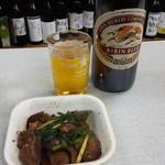 Mikiyasaketen - 肝レバ炒めとビール