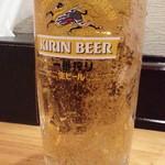 白菜タンメン楽観 - 生ビールはあえて通常の中ジョッキ500円を