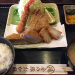 金の豚 おか田 - ミックスフライ