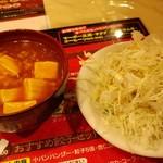 南国亭 - 辛めな麻婆豆腐とサラダ。近隣のお店のセルフサービスコーナーにもある、ある意味「鉄板」メニュー。