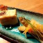 魚道 - 【ある日のコース  前菜  】 ワカサギの南蛮漬け、胡麻豆腐