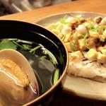 魚道 - 【ある日のコース】 焼き穴子のちらし寿司   蛤のお吸い物
