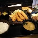 相仙 - アジフライ定食880円と鶏唐揚げ350円