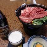 77805926 - 牛鍋と麦酒。松阪牛の赤が綺麗です。