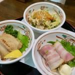 わいわい - おつまみ三点盛り 600円(鮫しょう油焼き、カキベーコン巻き、つぶ貝酢味噌)