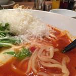 77836380 - モッツァレラチーズトマトスープ麺(粉チーズ追加)