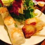 ベトナム料理コムゴン 京都 - 春巻きの盛り合わせ(生春巻き&あげ春巻き2種)