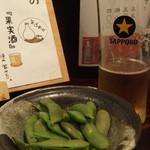 創作おでん よばれや - (2017年08月)枝豆塩ゆで、生ビール中